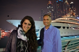 Kayla and Papa in front of a yacht