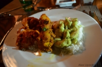 Thai green curry Chicken, Tandoori Potatoes, and Indian Butter Chicken