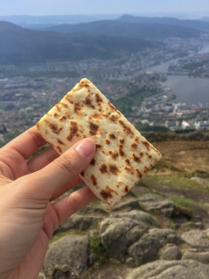 Lefse at the top of the mountain!